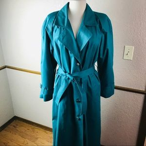 London Fog Belted Trench Coat Emerald Green 16 R